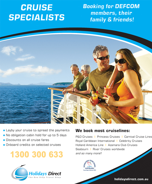DEFCOM discount off all P&O cruises booked with Holidays Direct 1300 300 633