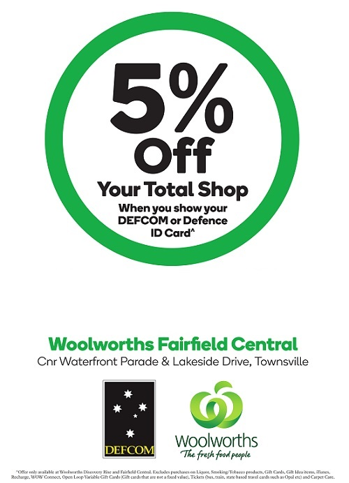 5% off* your shop at Woolworths Discovery Rise store in Townsville
