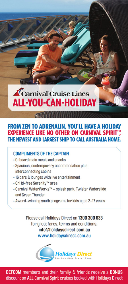 DEFCOM discounts on Carnival Cruises when booked with Holidays Direct