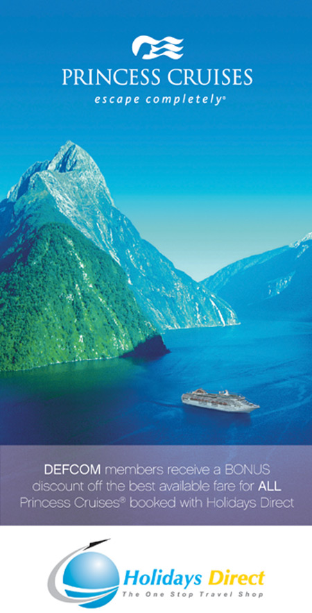 DEFCOM discount off every Princess Cruise booked with Holidays Direct 1300 300 633