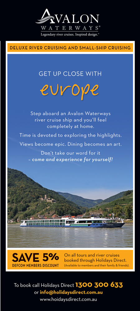 DEFCOM discount off every Avalon Waterways river cruise booked with Holidays Direct